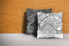 Map Throw Pillow of Paris France - Simple Black Ink