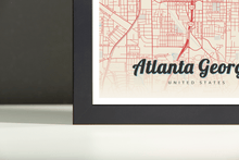 Framed Map Poster of Atlanta Georgia - Lobster Retro - Atlanta Map Art
