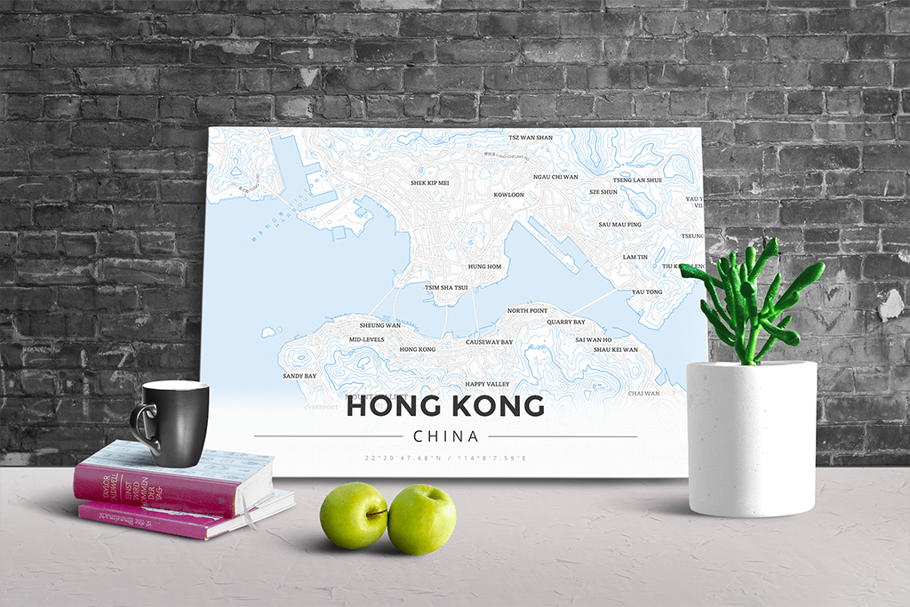 Gallery Wrapped Map Canvas of Hong Kong China - Modern Ski Map