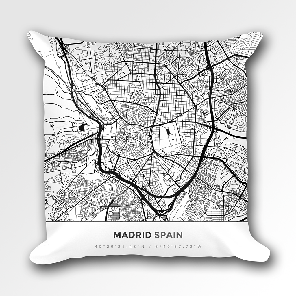Map Throw Pillow of Madrid Spain - Simple Black Ink - Madrid Map Art