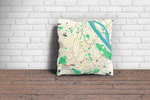 Map Throw Pillow of Vienna Austria - Subtle Colorful