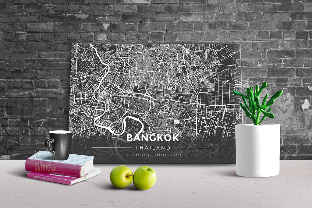 Gallery Wrapped Map Canvas of Bangkok Thailand - Modern Contrast