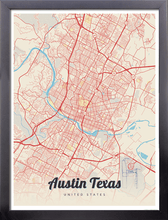 Framed Map Poster of Austin Texas - Lobster Retro - Austin Map Art