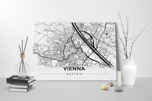 Gallery Wrapped Map Canvas of Vienna Austria - Modern Black Ink