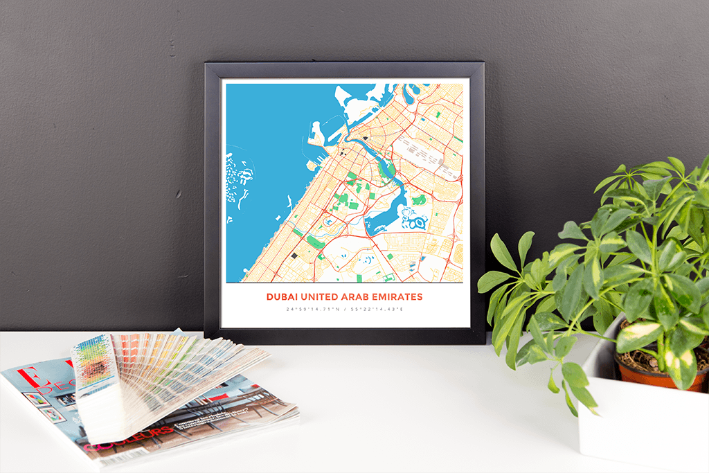 Framed Map Poster of Dubai United Arab Emirates - Simple Colorful