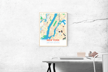 Premium Map Poster of New York United States - Modern Colorful - Unframed
