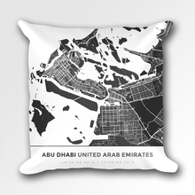 Map Throw Pillow of Abu Dhabi United Arab Emirates - Simple Contrast - Abu Dhabi Map Art