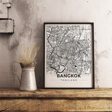 Framed Map Poster of Bangkok Thailand - Modern Black Ink