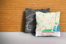 Map Throw Pillow of Barcelona Spain - Modern Colorful