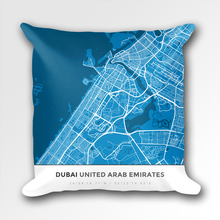 Map Throw Pillow of Dubai United Arab Emirates - Simple Blue Contrast