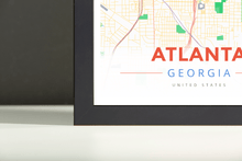 Framed Map Poster of Atlanta Georgia - Modern Colorful - Atlanta Map Art