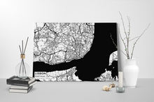 Gallery Wrapped Map Canvas of Lisbon Portugal - Subtle Black Ink - Lisbon Map Art