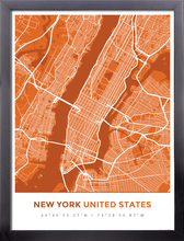 Framed Map Poster of New York United States - Simple Burnt
