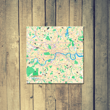 Gallery Wrapped Map Canvas of London England - Subtle Colorful