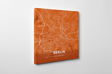 Gallery Wrapped Map Canvas of Berlin Germany - Modern Burnt - Berlin Map Art