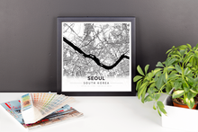 Framed Map Poster of Seoul South Korea - Modern Black Ink