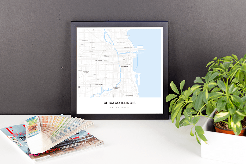Framed Map Poster of Chicago Illinois - Simple Ski Map - Chicago Map Art