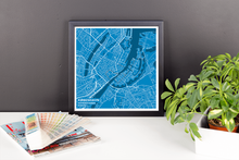 Framed Map Poster of Copenhagen Denmark - Subtle Blue Contrast - Copenhagen Map Art
