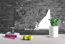 Gallery Wrapped Map Canvas of Barcelona Spain - Modern Contrast