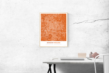 Premium Map Poster of Bangkok Thailand - Simple Burnt - Unframed