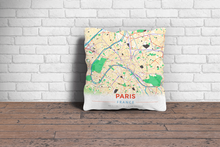 Map Throw Pillow of Paris France - Modern Colorful