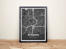 Framed Map Poster of Atlanta Georgia - Modern Contrast - Atlanta Map Art