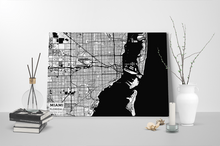 Gallery Wrapped Map Canvas of Miami Florida - Subtle Black Ink - Miami Map Art