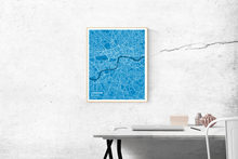 Premium Map Poster of London England - Subtle Blue Contrast - Unframed
