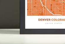 Framed Map Poster of Denver Colorado - Simple Burnt - Denver Map Art