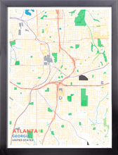Framed Map Poster of Atlanta Georgia - Subtle Colorful - Atlanta Map Art