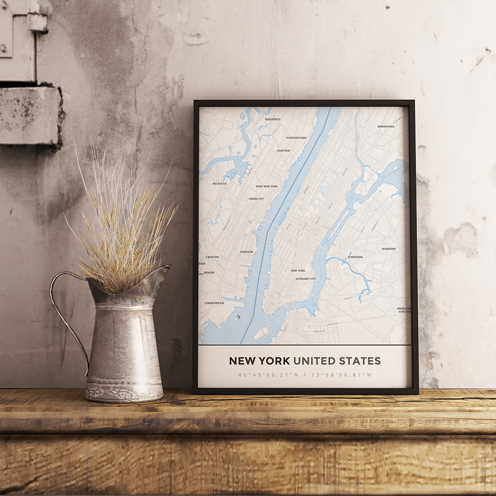 Premium Map Poster of New York United States - Simple Ski Map - Unframed