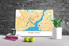 Gallery Wrapped Map Canvas of Istanbul Turkey - Simple Colorful