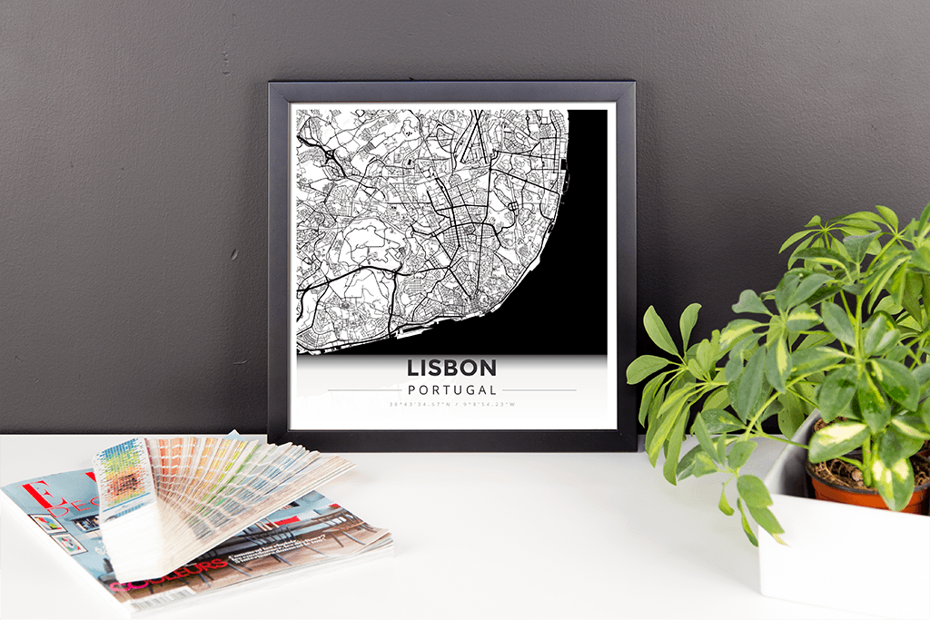 Framed Map Poster of Lisbon Portugal - Modern Black Ink - Lisbon Map Art