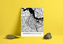 Premium Map Poster of Amsterdam Noord-Holland - Simple Black Ink - Unframed