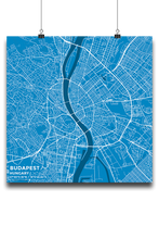 Premium Map Poster of Budapest Hungary - Subtle Blue Contrast - Unframed - Budapest Map Art
