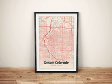 Premium Map Poster of Denver Colorado - Lobster Retro - Unframed - Denver Map Art