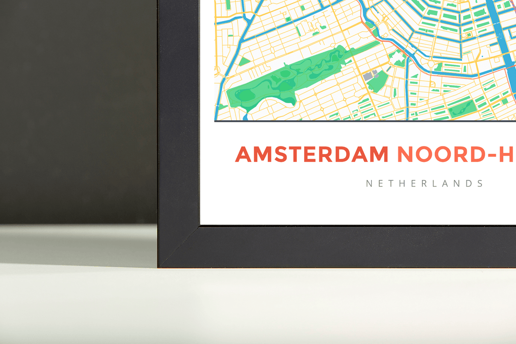 Framed Map Poster of Amsterdam Noord-Holland - Simple Colorful