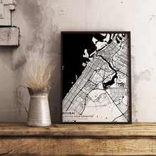 Premium Map Poster of Dubai United Arab Emirates - Subtle Black Ink - Unframed