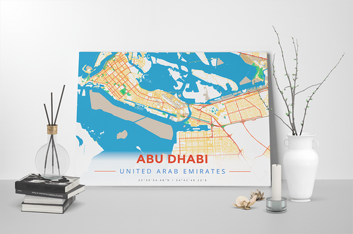 Gallery Wrapped Map Canvas of Abu Dhabi United Arab Emirates - Modern Colorful - Abu Dhabi Map Art