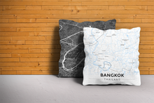 Map Throw Pillow of Bangkok Thailand - Modern Ski Map