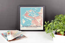 Framed Map Poster of Abu Dhabi United Arab Emirates - Diner Retro - Abu Dhabi Map Art
