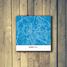 Gallery Wrapped Map Canvas of Rome Italy - Simple Blue Contrast