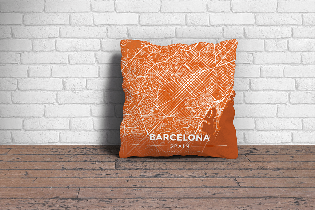 Map Throw Pillow of Barcelona Spain - Modern Burnt