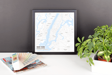 Framed Map Poster of New York United States - Subtle Ski Map