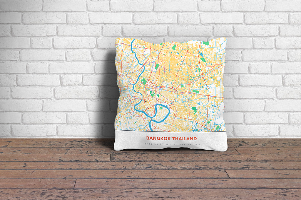 Map Throw Pillow of Bangkok Thailand - Simple Colorful