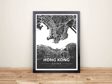 Framed Map Poster of Hong Kong China - Modern Contrast