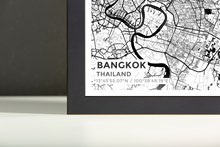 Framed Map Poster of Bangkok Thailand - Subtle Black Ink