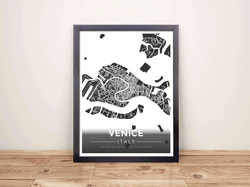 Framed Map Poster of Venice Italy - Modern Contrast - Venice Map Art