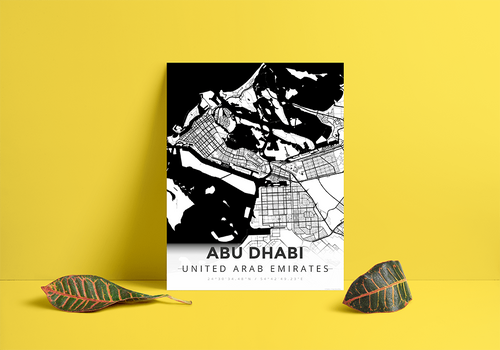 Premium Map Poster of Abu Dhabi United Arab Emirates - Modern Black Ink - Unframed - Abu Dhabi Map Art