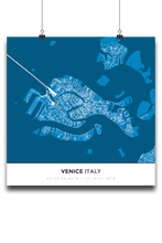 Premium Map Poster of Venice Italy - Simple Blue Contrast - Unframed - Venice Map Art